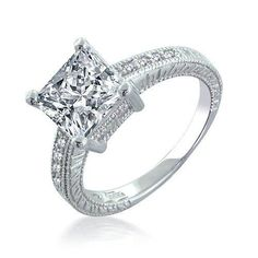 Bling Jewelry Sterling Silver 2.9ct Princess Cut CZ Engagement Ring