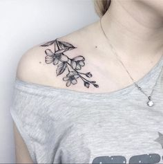 Like the look of the ink, not necessarily the flower type #TattooIdeasShoulder #beautytatoos