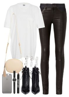 """""""Outfit with leather trousers"""" by ferned on Polyvore featuring rag & bone, Native Union, Band of Outsiders, MANGO, Sergio Rossi, Miss Selfridge, J.Crew and Lord & Berry"""