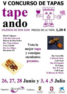 "Último fin de semana del V Concurso de tapas, ""Tapeando"" en Valencia de Don Juan"