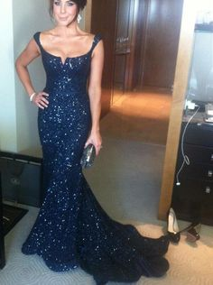 Vestidos 2015 Long Prom Dresses Mermaid Formal Gown Scoop Open Back Sequined Evening Dress Court Train Prom Gown Plus Size Cheap Navy Blue Prom Dresses, Sequin Bridesmaid Dresses, Sequin Evening Dresses, Prom Dresses For Sale, Pretty Dresses, Evening Gowns, Dress Prom, Dress Long, Prom Gowns