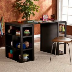 Southern Enterprises Medrano Desk - Black by Southern Enterprises Inc. $299.99. The Southern Enterprises Medrano Desk - Black features abundant style and storage! The desk features a large work surface raised on two bookcases, that means you'll have plenty of room for storing necessities and showcasing your favorite desk decor.About SEI (Southern Enterprises, Inc.)This item is manufactured by Southern Enterprises or SEI. Southern Enterprises is a wholesale furniture accessory im...