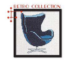 Retro Collection: Navy Blue Jacobson Egg Chair. Modern Cross Stitch Pattern PDF.. $5.00, via Etsy.