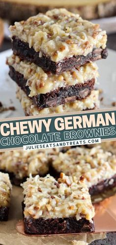 This holiday recipe is a must-try! Prepare to dive into these German Chocolate Brownies. The homemade coconut pecan frosting takes them over the top! Whether you make them from scratch or use a boxed mix for the base, these Christmas dessert bars are deliciously decadent! German Chocolate Brownies, Chewy Brownies, Brownie Cookies, Brownie Recipes, Cookie Recipes, Dessert Recipes, Amazing Deserts, Lithuanian Recipes, Christmas Desserts Easy
