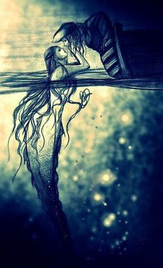 Logan goes on an adventure with the dark mermaid - .- Logan erlebt ein Abenteuer mit der dunklen Nixe – Logan goes on an adventure with the dark mermaid – - Sirens, Mythical Creatures, Sea Creatures, Mermaids And Mermen, Pirates Of The Caribbean, Dark Art, Amazing Art, Awesome, Fantasy Art