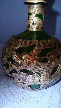 ANTIQUE STERLING SILVER OVERLAY PERFUME/SCENT GREEN BOTTLE RARE SERPENT SCENE | eBay