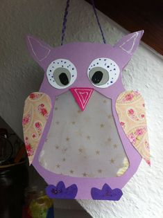 Adorable owl craft for kids. Made with construction paper and gift wrapping paper. Owl Crafts, Crafts To Do, Crafts For Kids, Arts And Crafts, Paper Crafts, Paper Owls, Gift Wrapping Paper, Creative Teaching, Paper Lanterns