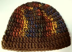 Crochet Beanie Brown and Multi-Colored adult