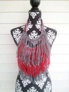 Grey and Red Bohemian Fringe Necklace