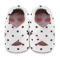 Shooshoos - white with black dots baby girls shoes