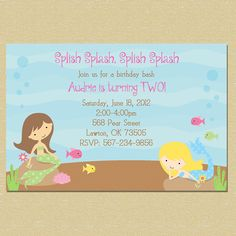 Mermaid Sea Birthday Invitation - Any Age - Matching Coordinates Available. $10.00, via Etsy.
