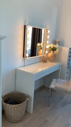 Malm Dressing table from Ikea. Mirror Ikea, Interior from Skeidar,