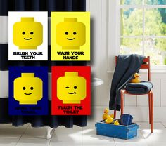 Bathroom Rules - LEGO Style Unique DIY accessories included that you wouldn't normally think to add in a bathroom! Complete the LEGO look! Lego Bathroom, Bathroom Rules, Bathroom Kids, Bathrooms, Kids Bath, Bathroom Remodeling, Bathroom Prints, Bathroom Wall Art, Lego Room