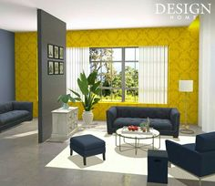 """The challenge:  """"From the outside, their house in the mountains above Lake Lucerne might look old-fashioned, but this young couple is definitely modern!   Their furnishings, which complement the sophisticated yellow, white and grey color scheme perfectly, create a look that is both dramatic and tasteful.  Design a simple yet elegant living room in Lucerne, Switzerland."""""""