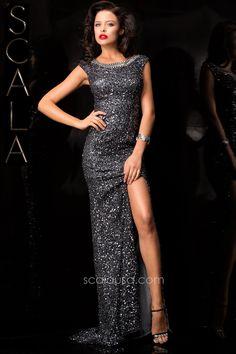 #SCALA Fall 15 style 48410 Charcoal #Fall2K15 #Homecoming2K15 #Dress #Formal #Fancy www.scalausa.com