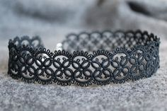 Handmade black lace choker necklace