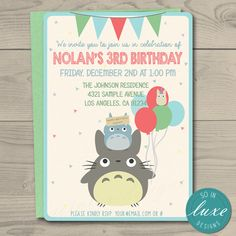 Hey, I found this really awesome Etsy listing at https://www.etsy.com/listing/400536889/totoro-birthday-party-invitation-themed