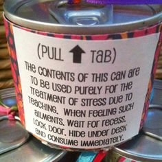 Surprise candy filled tab top cans for staff appreciation