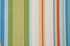 Fabric by the Yard :: Robert Allen by DwellStudios Stripe Cabana Printed Poly Outdoor Fabric in Sky $9.95 per yard