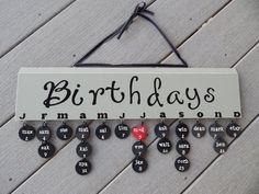Birthday Reminder Board...Ships within 1-3 days....Ashwood...black tiles...black vinyl....bonus anniversary heart