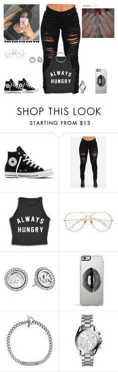 """""""✨"""" by kira101-101 ❤ liked on Polyvore featuring Converse, Michael Kors and Lipsy"""