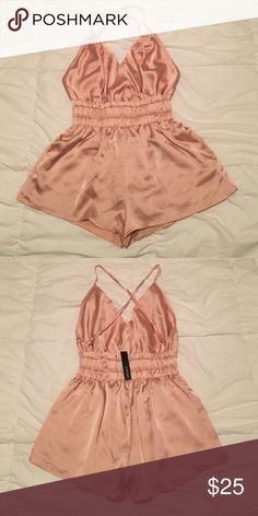 Light pink silk romper Gorgeous light pink silk romper. Never worn. Size small Necessary Clothing Other