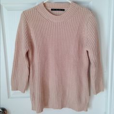 Zara knit sweater 3/4 length sleeves. Pink-beige color. Great neutral! Reasonable offers always considered! Zara Sweaters Crew & Scoop Necks