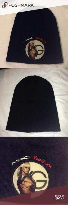 MAC Viva Glam Rihanna Beanie Hat New, never used, had no tags when I got it. It was in a bag with makeup so it's glittery MAC Cosmetics Accessories Hats
