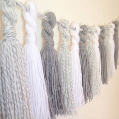 Yarn Tassel Garland Neutral Grey and White Party by HPHomeandGifts