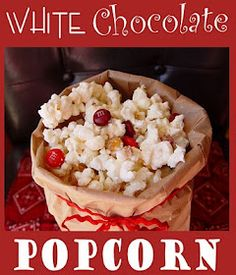 White chocolate popcorn.  This link goes nowhere but it would be an idea to put in our baskets!