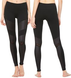 Get these sexy black mesh Alo leggings while you can! Urban motorcycle legend inspired the crisp lines and unique detail of the best-selling Moto Legging. #evolvefitwear #aloyoga #motolegging #mesh