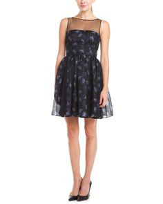 Jill Jill Stuart Black Multicolor Print Fit & Flare Dress