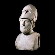 """Marble portrait bust of Perikles    Roman, 2nd century AD  Said to be from Hadrian's Villa at Tivoli, Lazio, Italy    """"This is a Roman copy of an original portrait which was perhaps created in Perikles' own day, or shortly after his death. However, it probably bears little physical resemblance to Perikles' actual appearance, showing an ideal type of the mature soldier citizen, wearing a helmet pushed back on his head."""""""