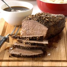 Sirloin Roast with Gravy Recipe -This recipe is perfect for my husband, who is a meat-and-potatoes kind of guy. The peppery, fork-tender roast combined with the rich gravy creates a tasty centerpiece for any meal. —Rita Clark, Monument, Colorado