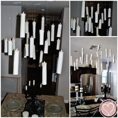 Make floating candles out of paper towel rolls and flameless tea lights.