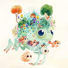 Watercolor: Fantastical Flora and Fauna - Aqua by Lorena Alvarez Gómez