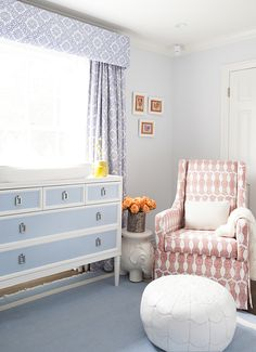 Block print chair + baby blue changing table Love the dresser