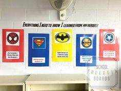 Superheroes in School - There are plenty of superheroes in school, but having a superhero bulletin board for your school hallway or classroom will definitely create some smiles in the building. Most students will recognize at least a couple, i Superhero Bulletin Boards, Superhero Classroom Decorations, Hallway Bulletin Boards, Classroom Displays, Classroom Themes, Classroom Environment, School Decorations, School Hallways, School Doors