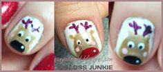 Christmas nail art #christmas #reindeer #rudolph