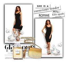 """""""ROMWE-BLACK DRESS"""" by daisy-728 ❤ liked on Polyvore featuring Gucci and Kate Spade"""
