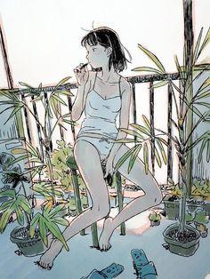 Art by Yojiro Arai Anime Art Girl, Manga Art, Anime Girls, Pretty Art, Cute Art, Aesthetic Art, Aesthetic Anime, Character Art, Character Design