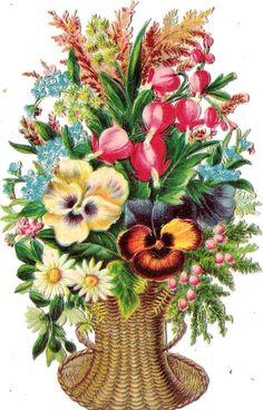 Oblaten Glanzbild scrap die cut chromo Blume 14,5 cm flower fleur Korb basket