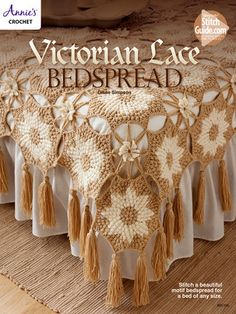 """AA885196 - Victorian Lace Bedspread - $6.99 Stitch this beautiful motif bedspread using medium worsted-weight yarn. Sizes: twin: 70""""W x 90""""L; full: 90""""W x 110""""L; queen: 100""""W x 120""""L and king: 110""""W x 120""""L."""
