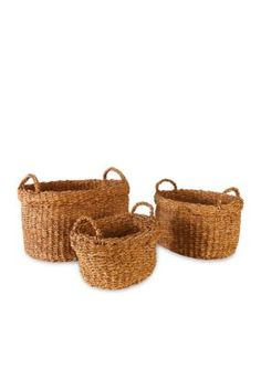 Napa Home  Garden   Seagrass Set of 3 Oval Baskets wHandles  Cuffs