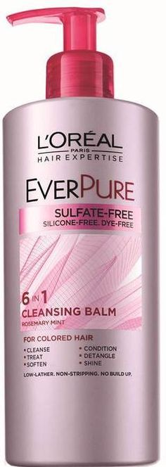 #CleansingBalms Introducing the Hair Expertise EverPure Cleansing Balm, our first 6-in-1 cleansing conditioner for color treated hair. This low lather, no-stripping, no-build-up system with nourishing botanicals cleanses, conditions, treats damaged hair, de-tangles, softens and adds shine. <br><br>• 6-in-1 benefits<br>• Nourishes color treated hair, non-stripping<br>• For color-treated hair<br><br>Apply 6-8 pumps to wet hair. For longer hair, add additional pumps as needed. Massage gently…