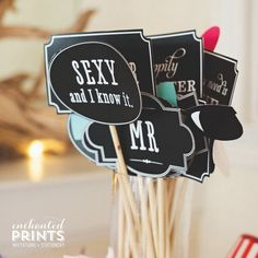 Printable DIY Photo Booth Props and Signs for weddings, parties and events!