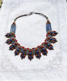 Nepalese Lapis and Coral Necklace by beadartaustria on Etsy, $215.00