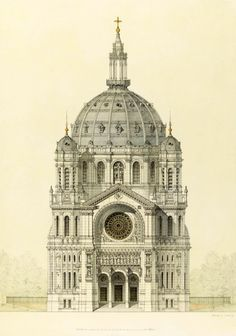Elevation of Baltard's Eglise Saint Augustin, Paris