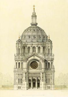 Elevation of Baltard's Eglise Saint Augustin, Paris