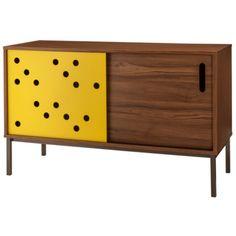 blue dot yellow walnut media cabinet buffet credenza target